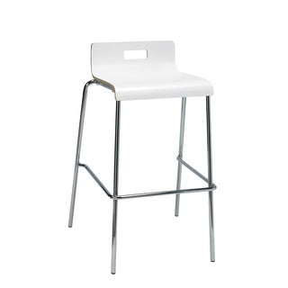 Jive White Low-back Barstool