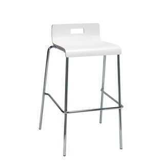 KFI Seating Jive White Low-back Barstool