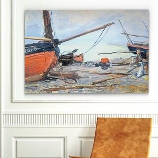 Claude Monet 'Boat on the Beach' Canvas Wall Art