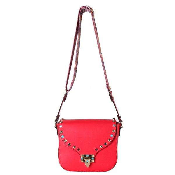 Diophy Front Studded and Bead Decor Crossbody Handbag with Woven Strap 2630c67e6e