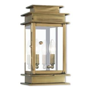 Livex Lighting Princeton Gold-tone Brass 2-light Outdoor Wall Lantern