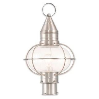 Livex Lighting Newburyport Brushed Nickel Single-Light Outdoor Post Lantern