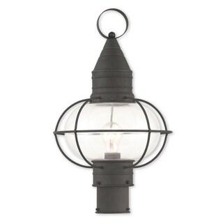 Livex Lighting Newburyport Black Brass Single-light Outdoor Post Lantern