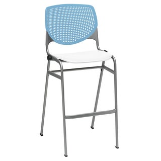 KOOL Sky Blue Back and White Seat Steel Frame Stacking Barstool