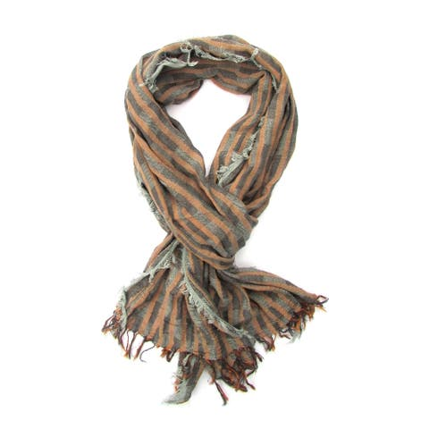 Unisex Brown/Grey Turkish Cotton Blend Ultra Soft All-season Fringed Scarf