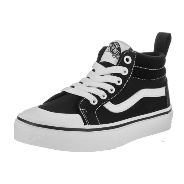 ddc3e92eee56 Shop Vans Kids Racer Mid (Canvas) Black Canvas Skate Shoes - Free ...