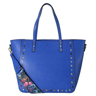 Diophy Front Studded and Bead Decor Tote Bag with Removable Woven Strap