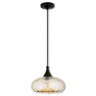 Livex Lighting English Bronze Art Glass 1-light Mini Pendant