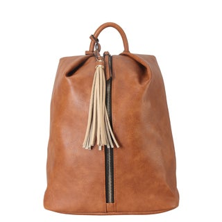 Diophy Front Zipper Tassel Decor Fashion Backpack