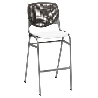 KOOL Brownstone Back and White Seat Steel Frame Stacking Barstool