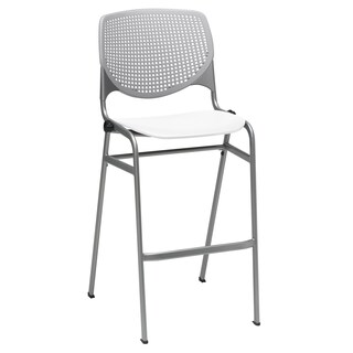 KOOL Poly Light Grey Back and White Seat Stacking Barstool