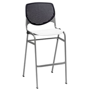 KOOL Black Back and White Seat Poly Stacking Barstool