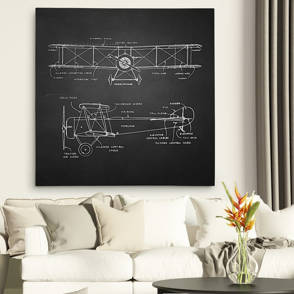 Wexford Home 'Bi Plane Sketch' Gallery Wrapped Canvas