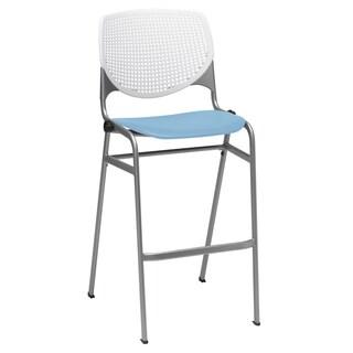 KOOL White Back and Sky Blue Seat Steel Frame Stacking Barstool