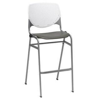 Kool White Back Brownstone Seat Poly Stacking Barstool