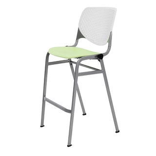 KOOL White/Lime Green Poly/Steel Stacking Barstool