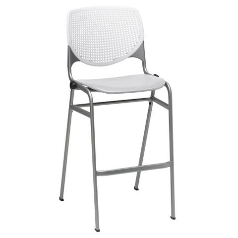 KFI KOOL Stacking Barstool, White Back/Light Grey Seat