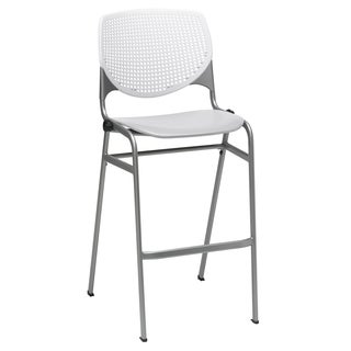 KOOL White Back/Light Grey Seat Poly Stacking Barstool
