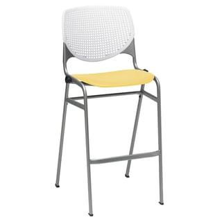KOOL White Back/Yellow Seat Poly Stacking Barstool