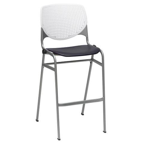 KFI KOOL Stacking Barstool, White/Black Poly