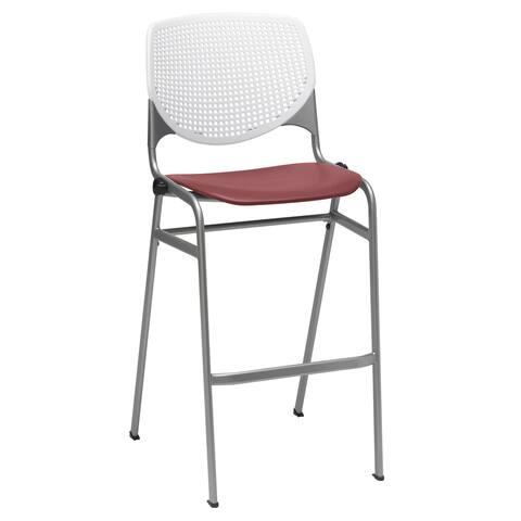 KFI KOOL Stacking Barstool, White Back, Burgundy Seat