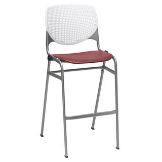 KOOL White Back and Burgundy Seat Steel Frame Stacking Barstool