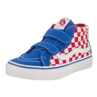 Vans Kids SK8-Mid Reissue V (Checkerboard) Red Canvas Skate Shoes
