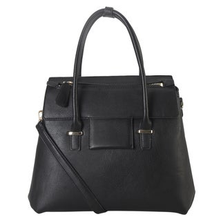 Diophy Birkin Style Faux-leather Tote Bag with Removable Strap and Front Zipper Pocket