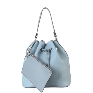 Diophy Faux Leather Drawstring Hobo Handbag with Small Matching Wristlet