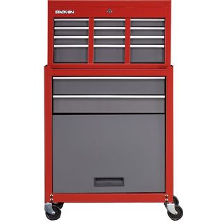 Stack-On 6 Drawer Chest/Cabinet Combo - Red