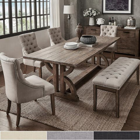 Paloma Salvaged Reclaimed Pine Wood 6-Piece Rectangle Dining Set by iNSPIRE Q Artisan
