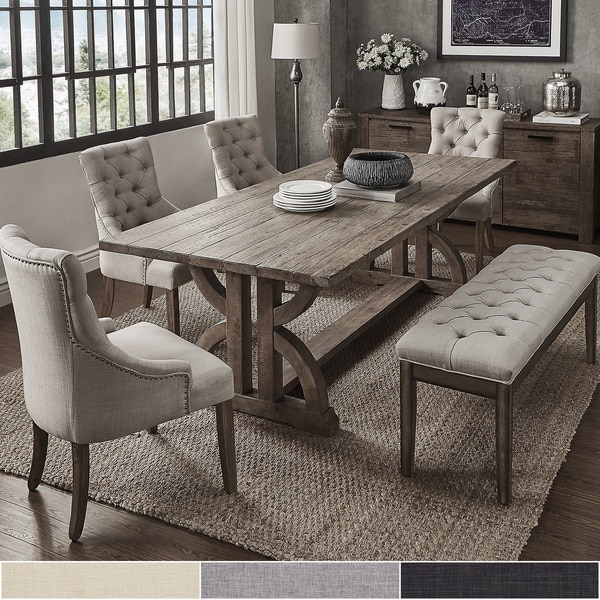 Dining Room Sets With A Bench: Paloma Salvaged Reclaimed Pine Wood 6-Piece Rectangle