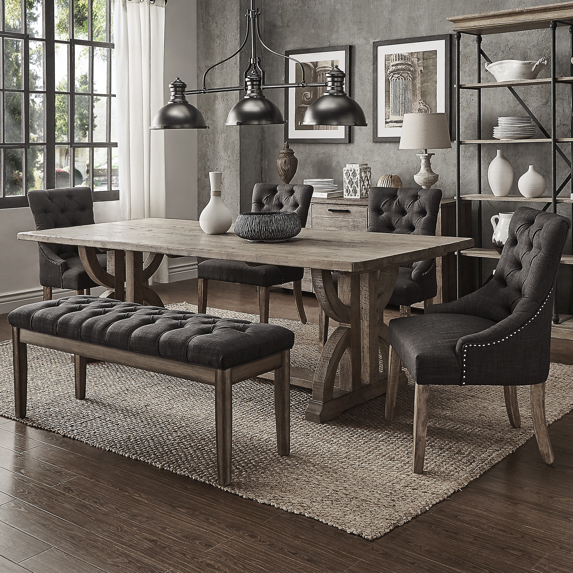 Paloma Salvaged Reclaimed Pine Wood 6 Piece Rectangle Dining Set By INSPIRE  Q Artisan (