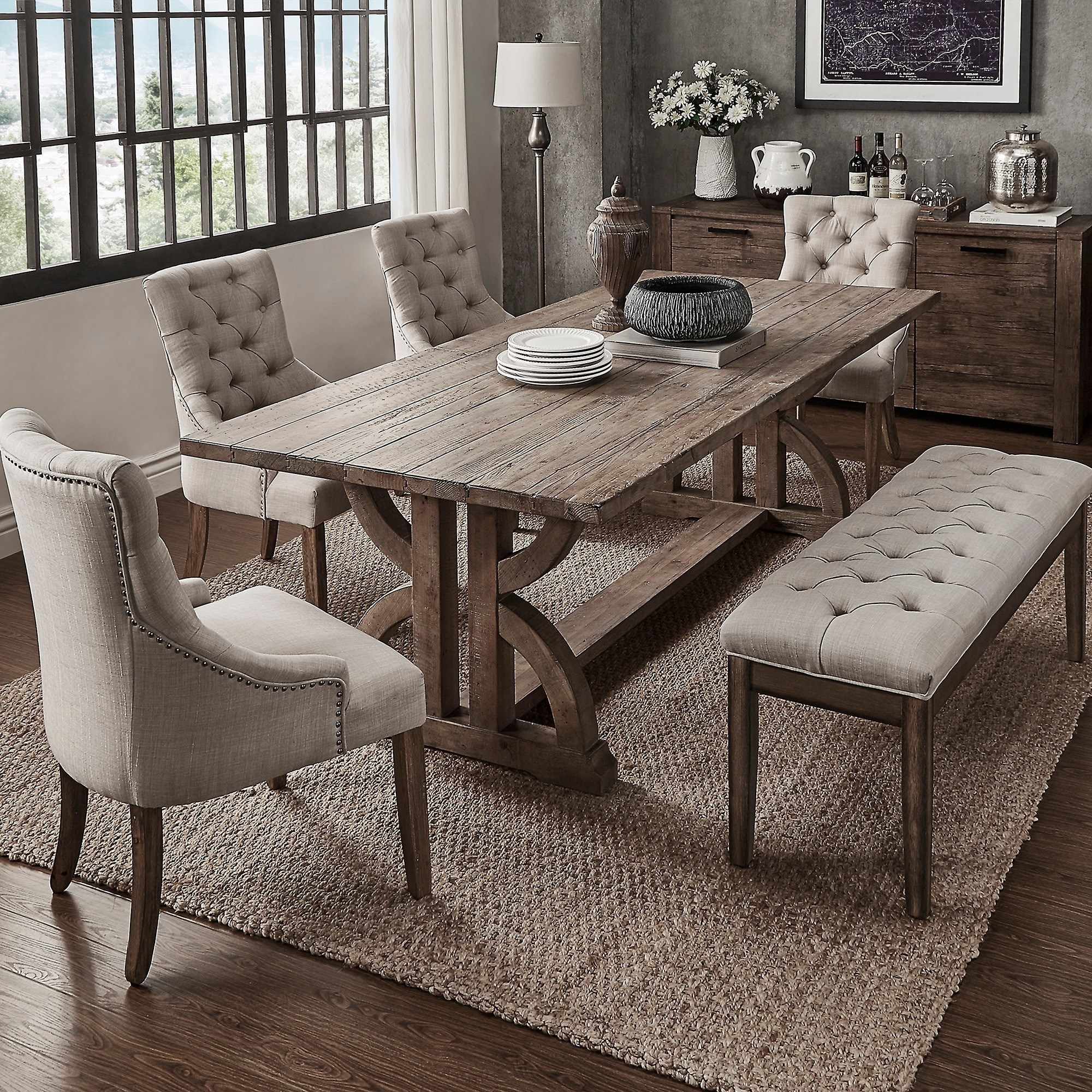 Paloma Salvaged Reclaimed Pine Wood 6 Piece Rectangle Dining Set By Inspire Q