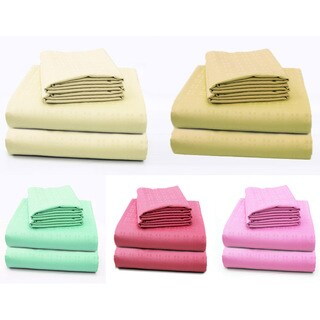 Cotton Embossed Square Deep Pocket Sheet Set (More options available)