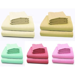 Cotton Embossed Square Deep Pocket Sheet Set