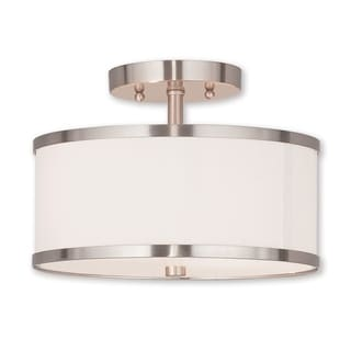 Livex Lighting Park Ridge Silvertone Steel/Fabric 2-light Flush Mount Fixture
