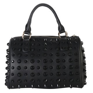 Diophy Metallic Faux Leather Studded Top-handle Tote Bag