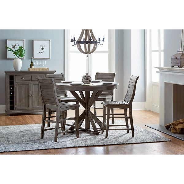 cc51616be0c6f3 Shop Willow Round Distressed Counter Table - Grey - Free Shipping Today -  Overstock - 14627871