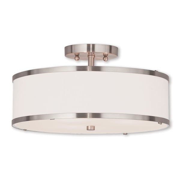 Livex Lighting Park Ridge Brushed Nickel 3-light Flush Mount Light