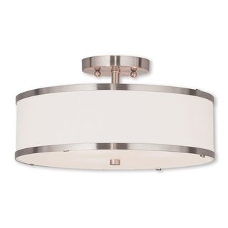 Livex Lighting Park Ridge Brushed Nickel Steel 3-light Flush Mount Light