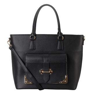 Diophy Faux Saffiano Leather Front Buckle Pocket Removable Strap Tote Bag