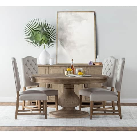 Beatriz Reclaimed Wood 60-inch Pedestal Dining Table by Kosas Home - Natural Brown - 30Hx60Wx60D
