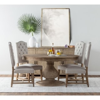 round dining room tables for 6 rustic beatriz reclaimed wood 60inch pedestal dining table by kosas home natural brown buy 6 round kitchen room tables online at overstockcom