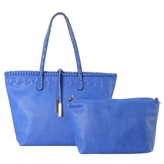 Diophy Faux Leather Edge-woven Decor Large Tote Bag With Medium Cosmetic Bag