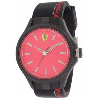 Ferrari Scuderia Pit Crew Black and Red Silicone and Stainless Steel Men's Watch