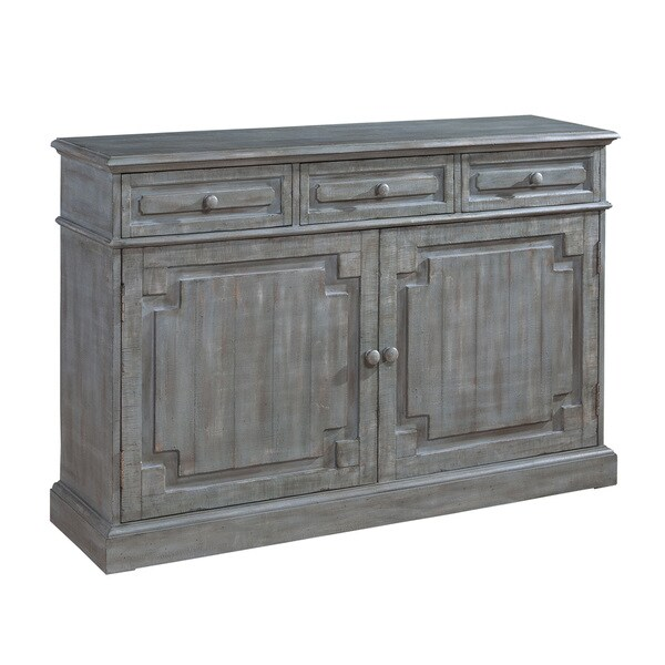 Grey Distressed Kitchen Cabinets: Shop Eliza Credenza Distressed Brown, Grey Accent Cabinet