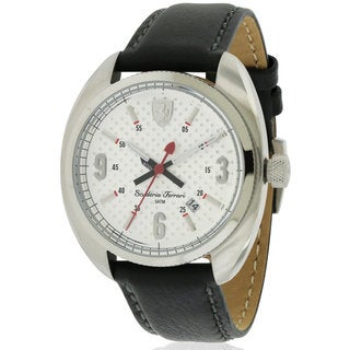Ferrari Scuderia Black Leather and Stainless Steel Men's Watch