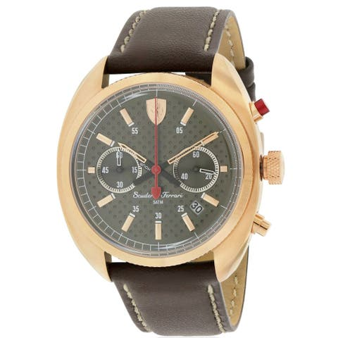 Ferrari 0830210 Male Brown Leather 45MM Quartz Analog Chronograph Watch