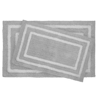 Jean Pierre Double Border Reversible Cotton 2PC Bath Mat Set
